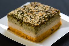 A slice of a coffee cake on a plate. With crumbs royalty free stock images
