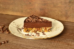 Slice of cold chocolate cheesecake Royalty Free Stock Photography