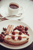 Slice of cottage cheese quiche with raspberries Stock Photography