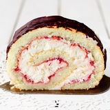 A Slice of Cottage Cheese and Raspberry Jam Swiss Roll Royalty Free Stock Photography