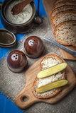 Slice of country bread with homemade lard. Royalty Free Stock Image