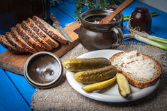 Slice of country bread with homemade lard. Royalty Free Stock Photography