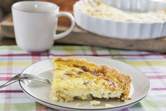 A slice of crab and mushroom quiche Royalty Free Stock Images
