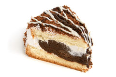 Slice of cream cake with chocolate Stock Photos