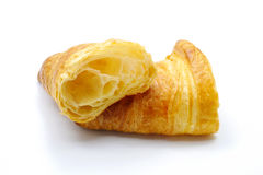 Slice croissant isolated on white background, tasty breakfast food Stock Images