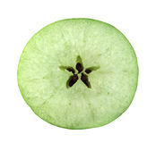 Slice cross section of green apple Stock Photo