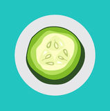 Slice of cucumber flat design vector Royalty Free Stock Image