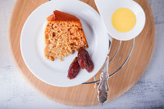 A slice of Date cake Royalty Free Stock Photography