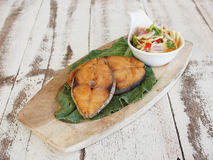 Slice deep fried fish with sour sauce Stock Photography