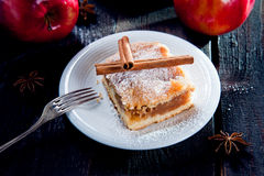 Slice of delicious apple pie Stock Photo