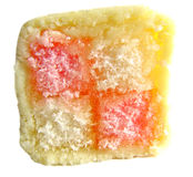 Slice of delicious battenberg cake Stock Photo