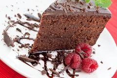 Slice of delicious chocolate cake stock images