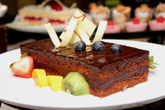 Slice of delicious chocolate cake Stock Photography