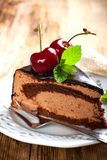 Slice of delicious chocolate mousse cake Royalty Free Stock Photos