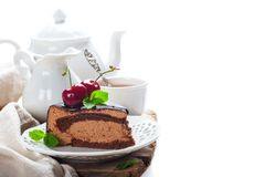 Slice of delicious chocolate mousse cake Royalty Free Stock Images