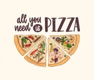 Slice of delicious classical pizza and All You Need Is Pizza slogan handwritten with calligraphic font on light. Background. Tasty meal of Italian cuisine. Hand stock illustration