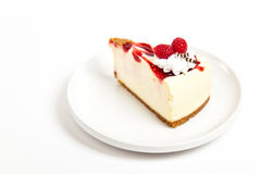 Raspberry cheesecake slice Royalty Free Stock Photo