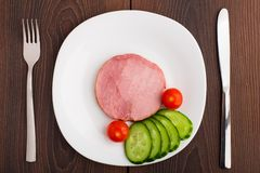 Slice of delicious ham on plate Stock Photography