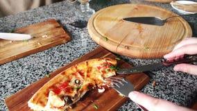 Slice of delicious hot fresh pizza stock video
