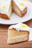 Slice of delicious lemon cake royalty free stock photos
