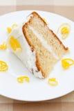 Slice of delicious lemon sponge cake royalty free stock photo