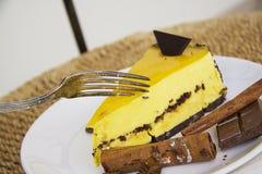 Slice of delicious mango cheesecake 3 Stock Photography