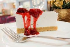 Slice of delicious raspberry cheese cake Royalty Free Stock Photo