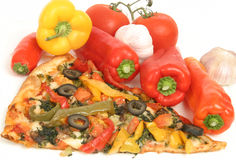 Slice of delicious vegetable pizza stock images