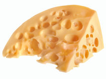 Slice of delicious yellow cheese with round holes Stock Photography