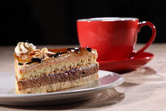 Slice of dessert cake with coffee for break time Stock Photography