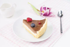 Slice of double layer cheesecake with berries on white plate, close up Stock Images