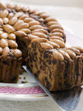 Slice of Dundee Cake. With crumbs Royalty Free Stock Photography