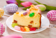 Slice of easter cheesecake Royalty Free Stock Image