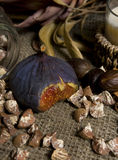 Slice of figs close-up. Still life with figs on a dark background, closeup Royalty Free Stock Photos
