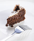 Slice of flourless chocolate cake Royalty Free Stock Image