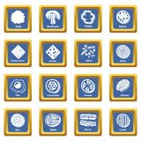 Slice food icons set blue square vector. Slice food icons set vector blue square isolated on white background Stock Images