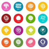 Slice food icons set colorful circles vector. Slice food icons set vector colorful circles isolated on white background Royalty Free Stock Images