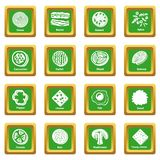 Slice food icons set green square vector. Slice food icons set vector green square isolated on white background Royalty Free Stock Photos