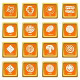 Slice food icons set orange square vector. Slice food icons set vector orange square isolated on white background Stock Photo