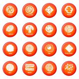 Slice food icons set red vector. Slice food icons set vector red circle isolated on white background Stock Photos