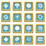 Slice food icons set sapphirine square vector. Slice food icons set vector sapphirine square isolated on white background Stock Photography