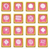 Slice food icons set pink square vector. Slice food icons set vector pink square isolated on white background Royalty Free Stock Images