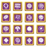 Slice food icons set purple square vector. Slice food icons set vector purple square isolated on white background Royalty Free Stock Photo