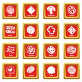 Slice food icons set red square vector. Slice food icons set vector red square isolated on white background Royalty Free Stock Images