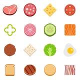 Slice food ingredient icons set vector flat. Slice food ingredient icons set. Flat illustration of 16 slice food ingredient vector icons isolated on white Royalty Free Stock Photos