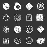Slice food ingredient icons set grey vector. Slice food ingredient icons set vector white isolated on grey background Stock Photo