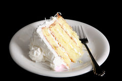 Slice of fresh coconut cake Royalty Free Stock Photo