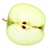 Slice of fresh green apple. Isolated on white background. Close-up. Studio photography Royalty Free Stock Images