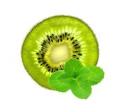 Slice of fresh juicy kiwi and mint herb isolated Royalty Free Stock Photo
