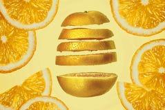 Slice fresh juicy orange close-up bright saturated orange fruit white soft background.  Stock Images